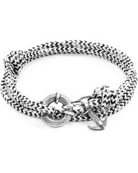 Anchor & Crew - White Noir Clyde Silver & Rope Bracelet - Lyst