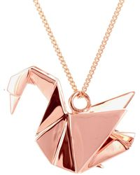 Origami Jewellery | Swan Necklace Sterling Silver Pink Gold Plated | Lyst