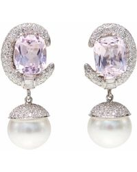 Ri Noor - Kunzite Diamond & Pearl Earrings - Lyst