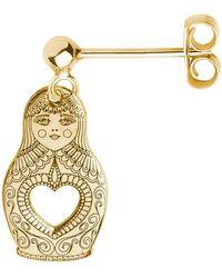 CarterGore - Gold Russian Doll Single Short Drop Earring - Lyst