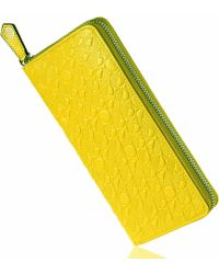 Drew Lennox - Luxury English Leather Ladies 12 Card Zip Around Purse & Wallet In Lemon And Lime - Lyst