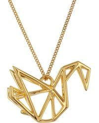 Origami Jewellery - Sterling Silver & Gold Frame Swan Origami Necklace - Lyst