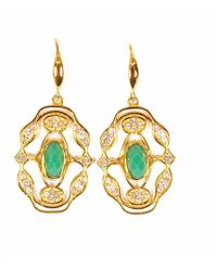 Neola - Norresa Gold Earrings With Chrysoprase - Lyst
