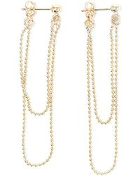 Alice Eden - Gold Ball Chain Double Loop Earrings - Lyst