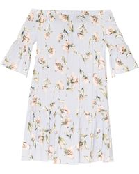 Paisie - Floral Print Bardot Dress With Gathered Hem & Flared Cuffs In Light Blue - Lyst