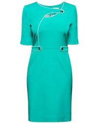 Rumour London - Francesca Aqua Green Dress With Keyhole Tab Neckline - Lyst