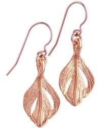 Chupi - Tiny Swan Feather Earrings Rose Gold - Lyst