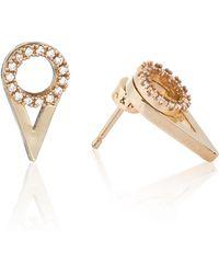 Astrid & Miyu   Circle Ear Jacket In Gold   Lyst
