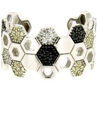 Cosanuova - Rhodium Plated Sterling Silver Honeycomb Bee Ring - Lyst