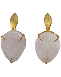 Magpie Rose - White Druzy Drop Earrings - Lyst