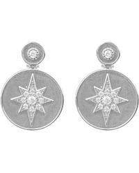 LÁTELITA London - Star Burst Brushed Metal Coin Drop Earring Silver - Lyst