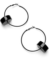 Scenery Label - Black Hoop Earrings - Lyst