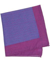 40 Colori - Magenta Multi Zigzag Printed Cotton Pocket Square - Lyst