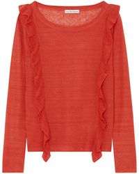 ILLE DE COCOS - Linen Ruffle Sweater Vintage Red - Lyst