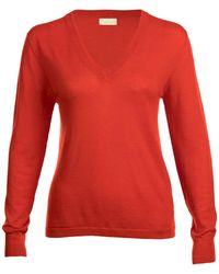 Asneh - Poinciana Red Mathilda V-neck Cashmere Sweater - Lyst