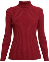 Rumour London - Mia Red Ribbed Turtleneck Sweater - Lyst