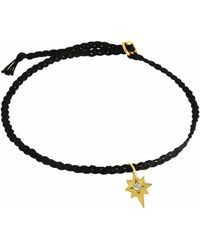 Yvonne Henderson Jewellery - Tiny North Star Friendship Bracelet On Black Silk - Lyst