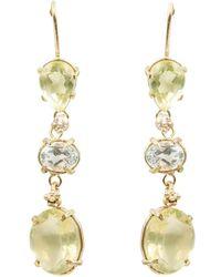 Lily Flo Jewellery - Cyrena Lemon & White Topaz On Solid Gold Long Drop Earrings - Lyst