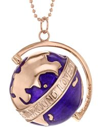 """True Rocks - New Small Purple Spinning Globe Necklace In Purple Enamel & 18 Carat Rose Gold Plate """"the Whole World Revolves Around Love"""" - Lyst"""