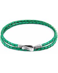 Anchor & Crew | Fern Green Liverpool Silver & Leather Bracelet | Lyst