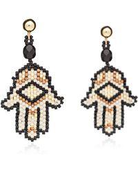 Azuni London - Hamsa Beadwork Earrings In Lynx - Lyst