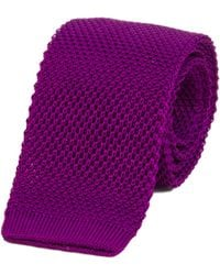 40 Colori - Purple Solid Silk Knitted Tie - Lyst