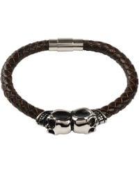LÁTELITA London - Brown Leather Skull Bracelet Silver - Lyst