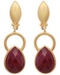 Carousel Jewels | Gold Ring & Teardrop Dyed Ruby Earrings | Lyst