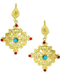 Ottoman Hands - Alexandretta Red Agate And Turquoise Chandelier Earrings - Lyst