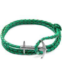 Anchor & Crew - Fern Green Admiral Anchor Silver & Braided Leather Bracelet - Lyst
