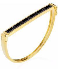 Neola - Equilibrium Gold Bangle With Black Onyx - Lyst