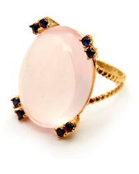 GFG Jewellery by Nilufer - Niki Ring Rose Quartz Blue Sapphires - Lyst