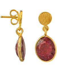 Juvi Designs - Antibes Drop Earrings With Ruby - Lyst