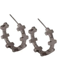 Amberly Cross - Hoop Earrings Shiny Black Rhodium - Lyst
