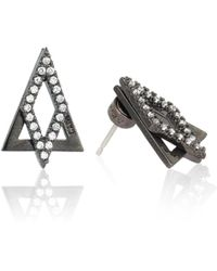 Astrid & Miyu - Diamond Ear Jacket In Gunmetal - Lyst