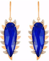 Meghna Jewels | Claw Earrings Lapis & Diamonds | Lyst