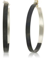 Ellie Air - Flat Hoops Black & Silver - Lyst