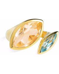 Neola - Celestine Gold Ring Citrine & Blue Topaz - Lyst