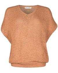 Paisie - Tan Loose Knit V-neck Top - Lyst