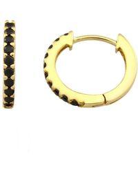 Monarc Jewellery | Signature Huggie Hoops 9ct Gold And Black Diamond | Lyst