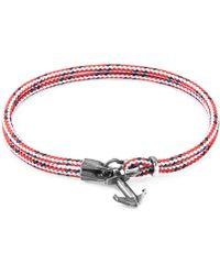 Anchor & Crew - Red Dash Brighton Silver & Rope Bracelet - Lyst