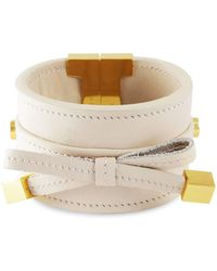 Tissuville - Bow & Cube Almond Latte Bracelet Gold - Lyst