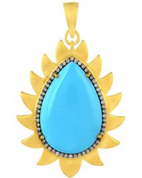 Meghna Jewels - Flame Pendant Turquoise & Diamonds - Lyst