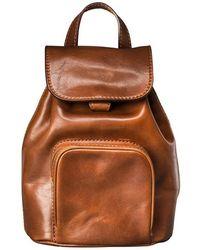 Maxwell Scott Bags | Luxury Italian Leather Ladies Small Rucksack Popolo Chestnut Tan | Lyst