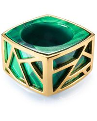 Ona Chan Jewelry - Square Cocktail Ring Malachite - Lyst