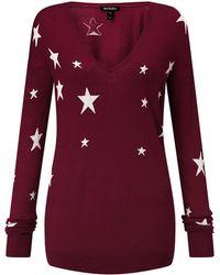 Baukjen - Loxley Intarsia Knit In Wine With White Stars - Lyst