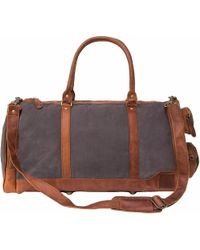MAHI - Canvas Leather Columbus Holdall/duffle Weekend/overnight Bag In Grey - Lyst