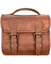 MAHI - Leather Hanging Wash Bag In Vintage Brown With Buckles - Lyst