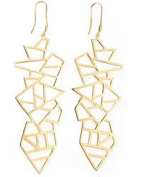 Ona Chan Jewelry - Long Multi Lattice Drop Earrings Yellow Gold - Lyst