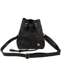 MAHI Mini Bucket Drawstring Bag In Ebony Black Leather